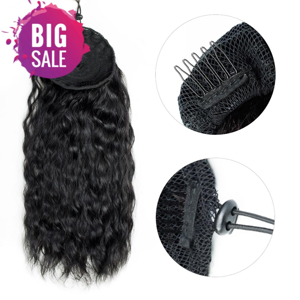 Aliballad Water Wave Drawstring Ponytail Human Hair Brazilian With Afro Clip In Extensions 2 Combs Natural Wavy Ponytail
