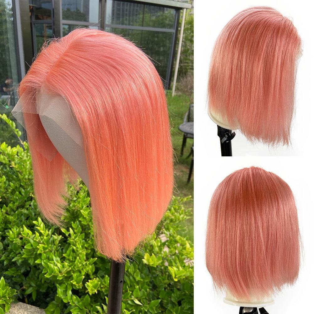 Fashion 180% U Part Short Bob Cheap Lace Front Human Hair Wig Closure Blonde Purple Pink Color Remy Pre Plucked Hair For Women