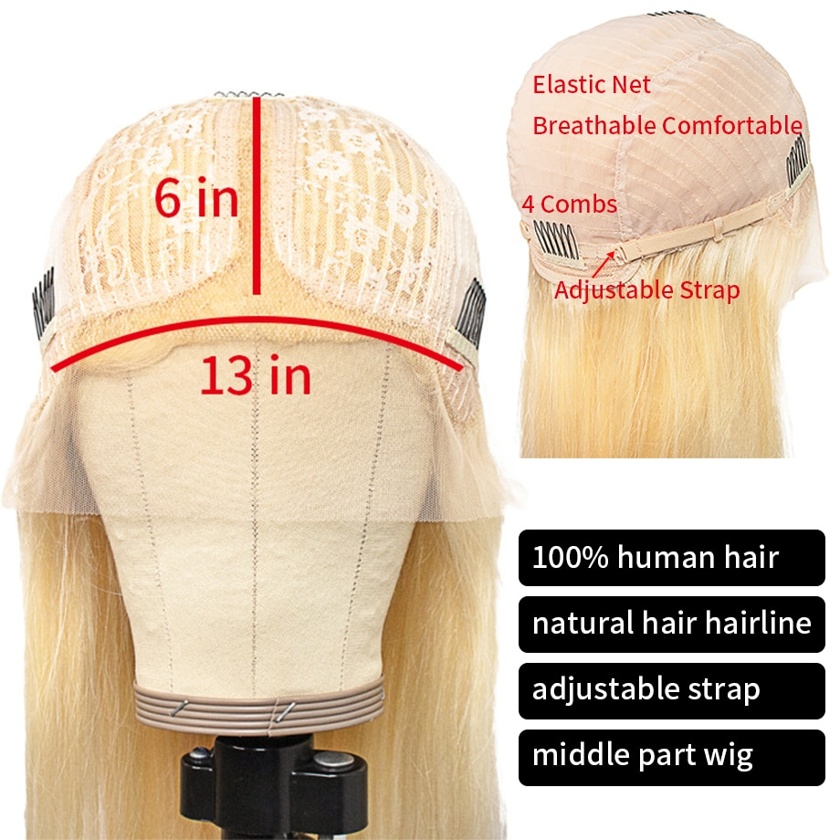 613 Frontal Wig Brazilian Straight Lace Front Human Hair Wigs For Black Women Honey Blonde Body Wave 30 Inch T Part Lace Front