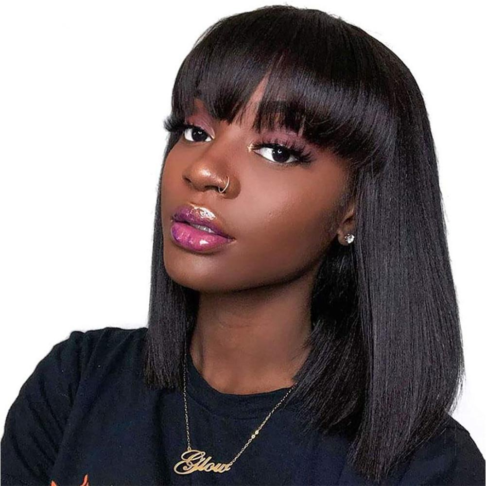 short bob human hair wigs Brazilian Straight Wigs Remy Short Cut Wigs For Black Women Natural Color Full Machine Wigs With Bang
