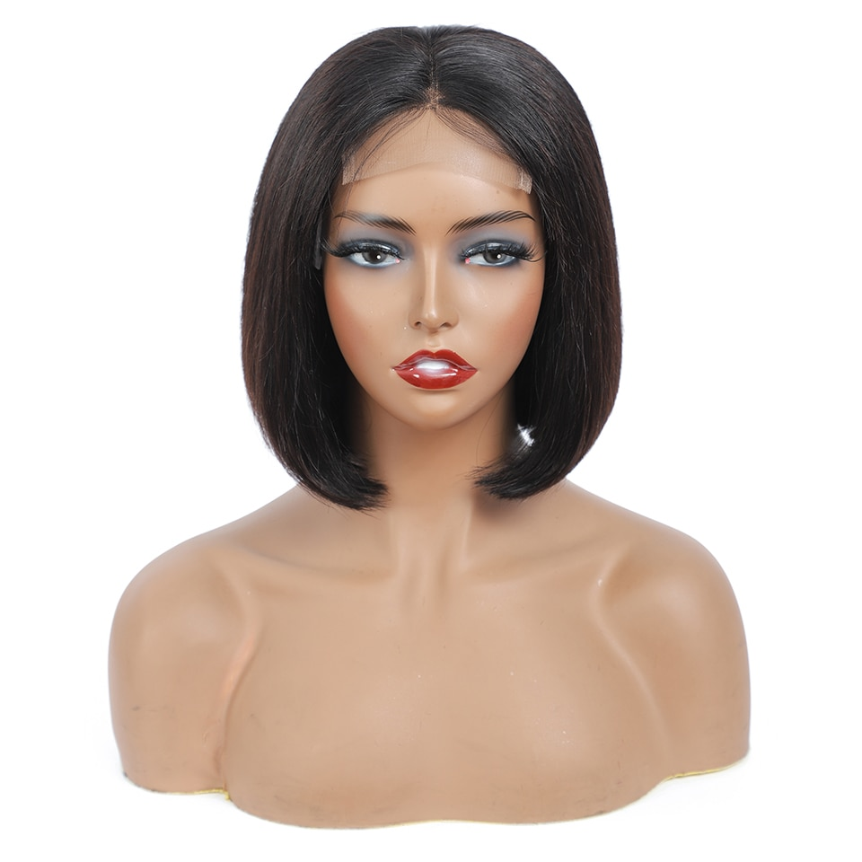 14 Inch Short Bob Wig Human Hair Lace Closure Wigs Brazilian Virgin Pre Plucked with Baby Hair Natural Human Hair Straight Wigs