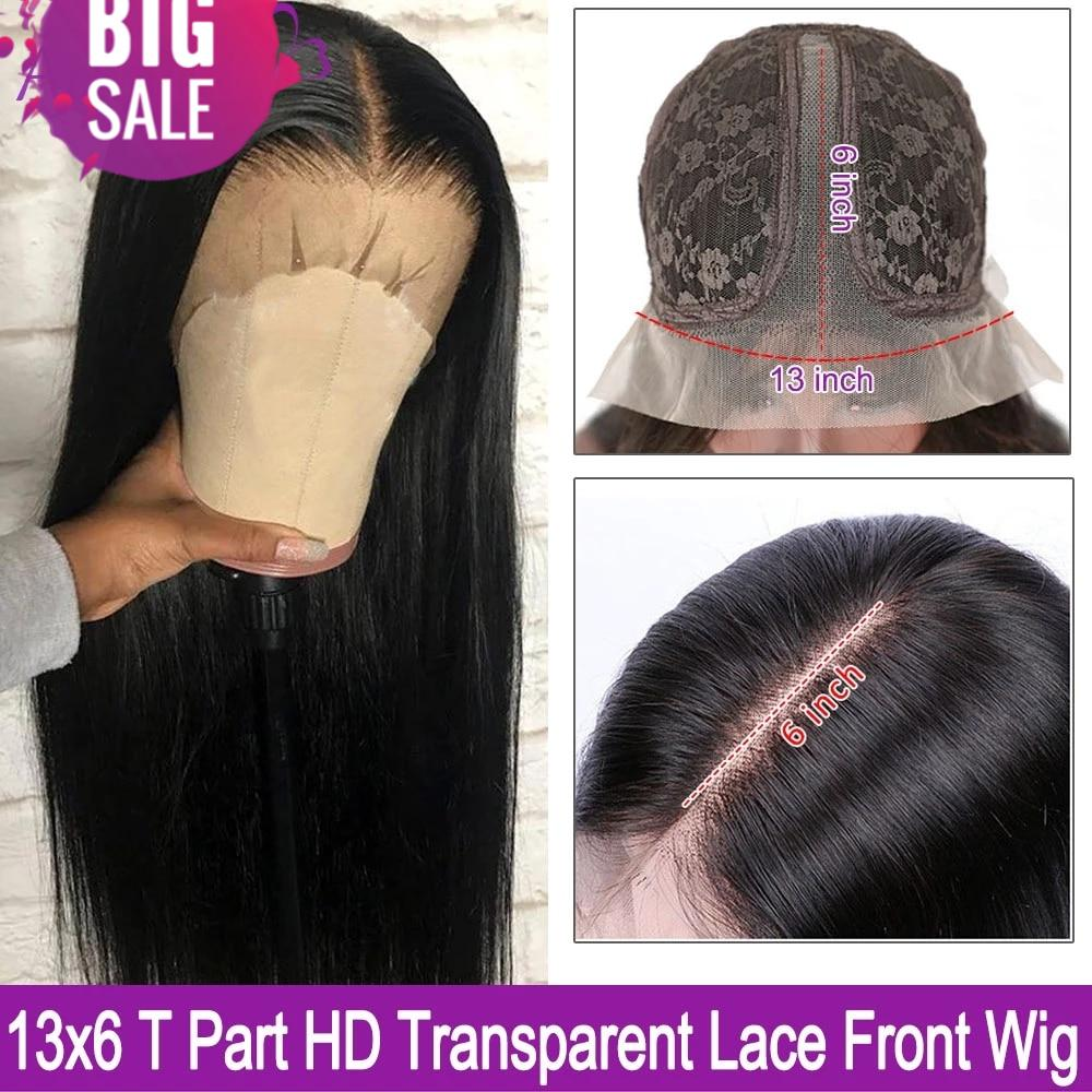 HD Transparent Lace Wig 13X4 13X6 Straight Lace Front Human Hair Wigs Peruvian Lace Front Wigs Pre plucked 180 Density Remy