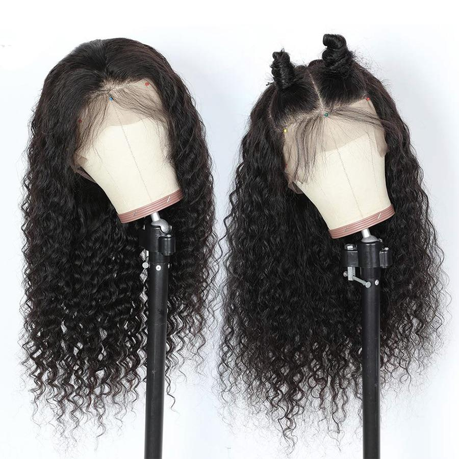 180 Density Human Hair Wigs Deep Wave Transparent Lace Front Human Hair Wigs T Part Brazilian Wig