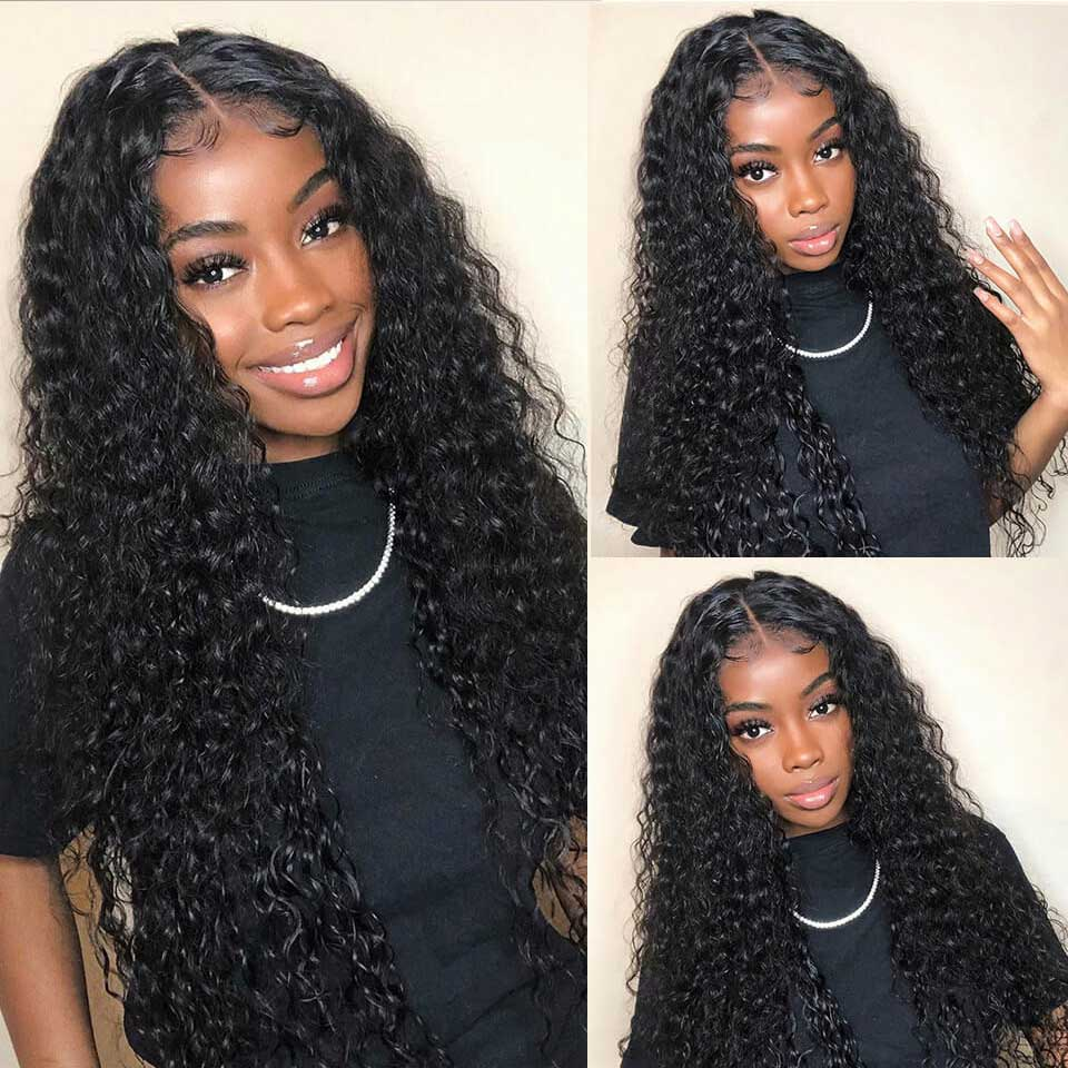 CHEAP Deep Wave Wig Hd Transparent Lace Frontal Wig Curly Lace Front Human Hair Wigs T Part Brazilian Deep Curly Lace Front Wig