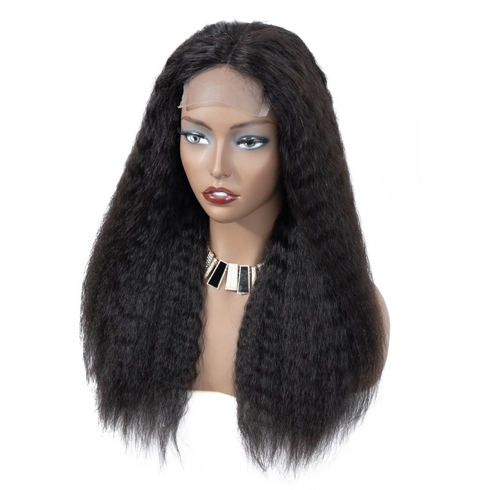 Kinky Straight Wig 13*4 Lace Front Human Hair Wigs PrePlucked Remy Yaki Lace Wig 4x4 Lace Closure Wig For Black Women U Part Wig