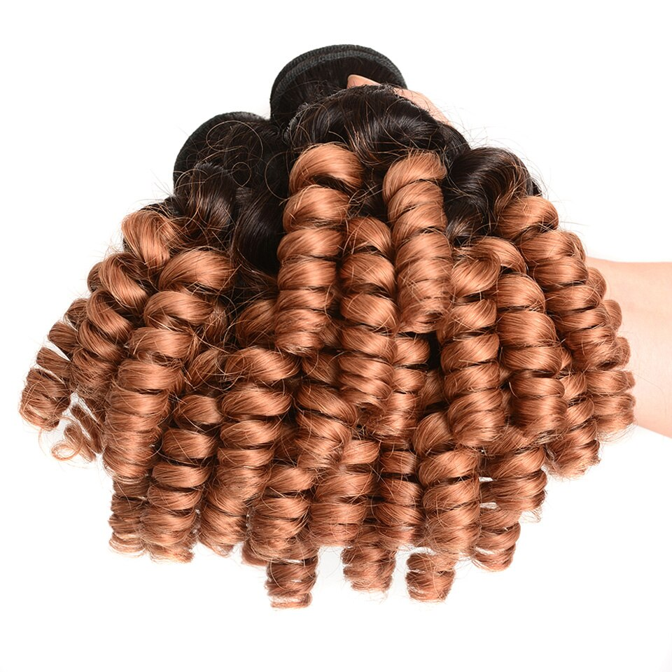 Sexay Funmi Curl Ombre Human Hair Weaves 3 Bundles One Pack T1B/30 Dirty Blonde Romance Curly Brazilian Human Hair Bundles