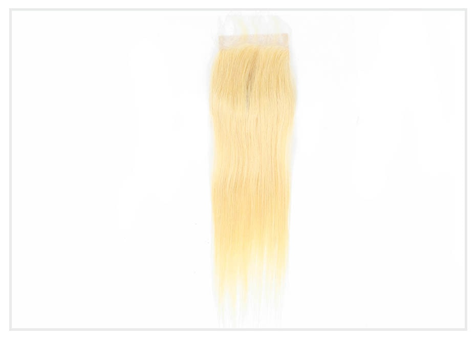 Monstar 34 36 38 40 Inch 613 Blonde Human Hair Weave Bundles With Closure Peruvian Remy Straight 3 Bundles with 4x4 Lace Closure