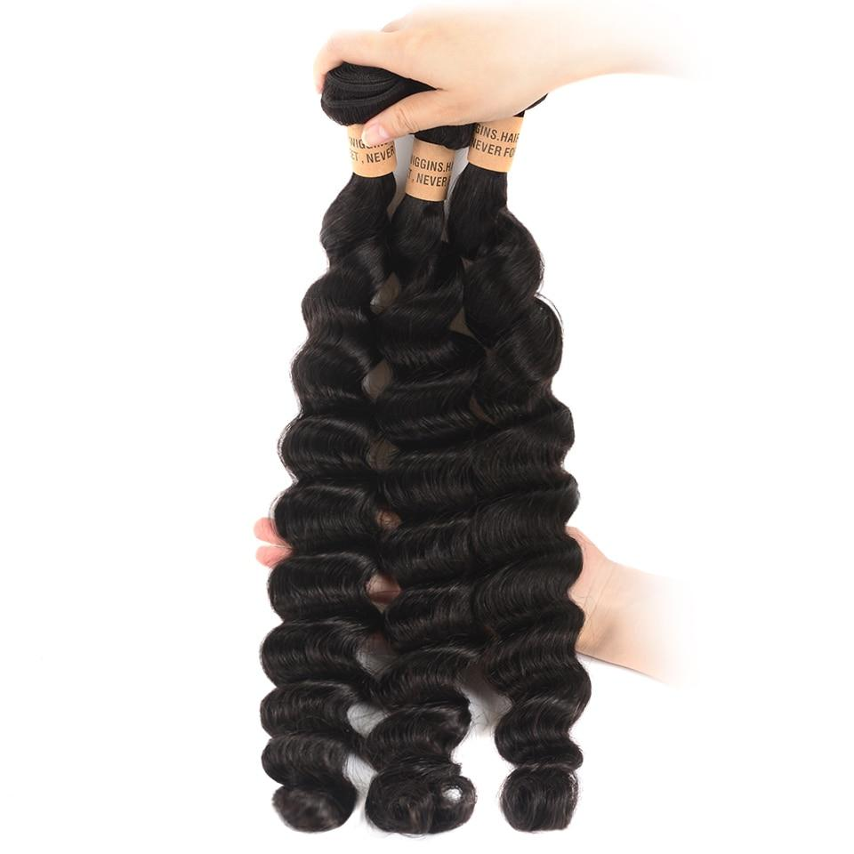 Wiggins Hair Loose Deep Wave Bundles With Closure Peruvian Human Hair 3 Bundles With Closure Free Middle Three Part Remy Hair