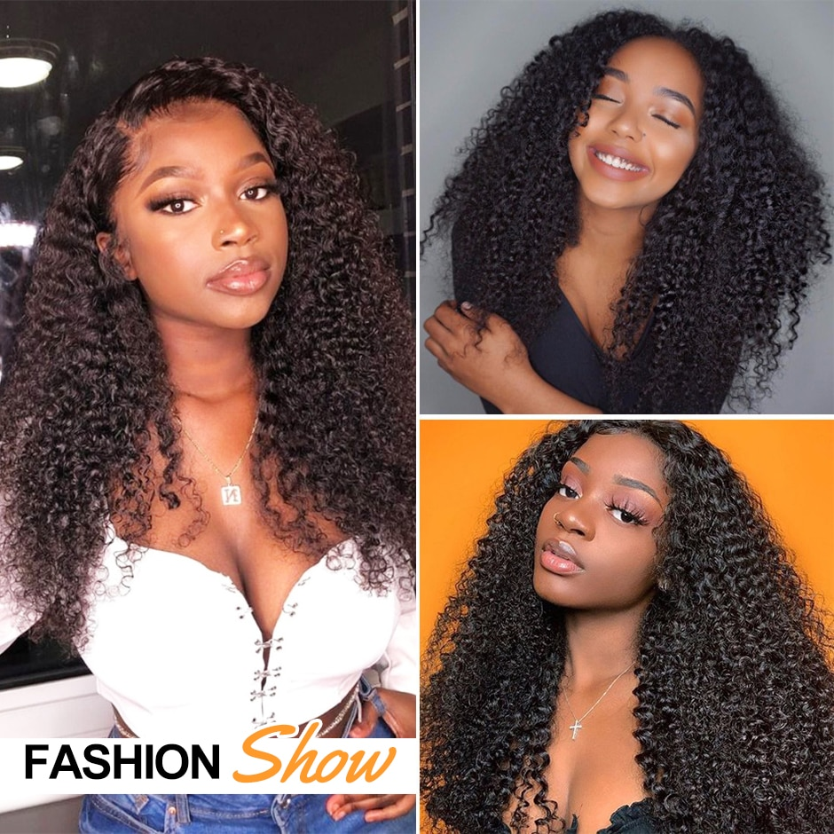 RESHINE Mongolian Kinky Curly Wig 13x4 Lace Frontal Human Hair Wig 180% 13x6 HD Transparent Lace Wig With Baby Hair Closure Wigs