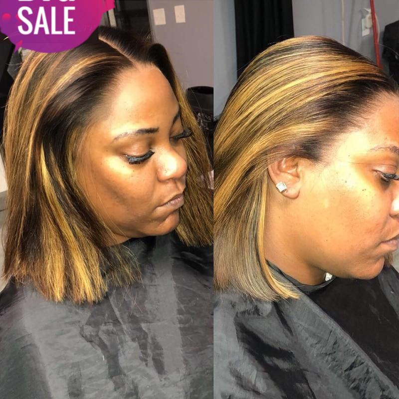 13x6 Highlight Wig Ombre Brown Honey Blonde Short Bob Wig HD Lace Front Wig Colored Full 360 Frontal Human Hair Wigs 4x4 Closure