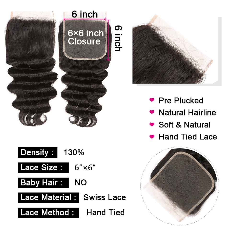 Loose Deep Wave 4x4 & 6x6 Closure With Bundle Human Hair 3/4 Bundles With Closures Brazilian Remy Hair Bundles With Lace Closure
