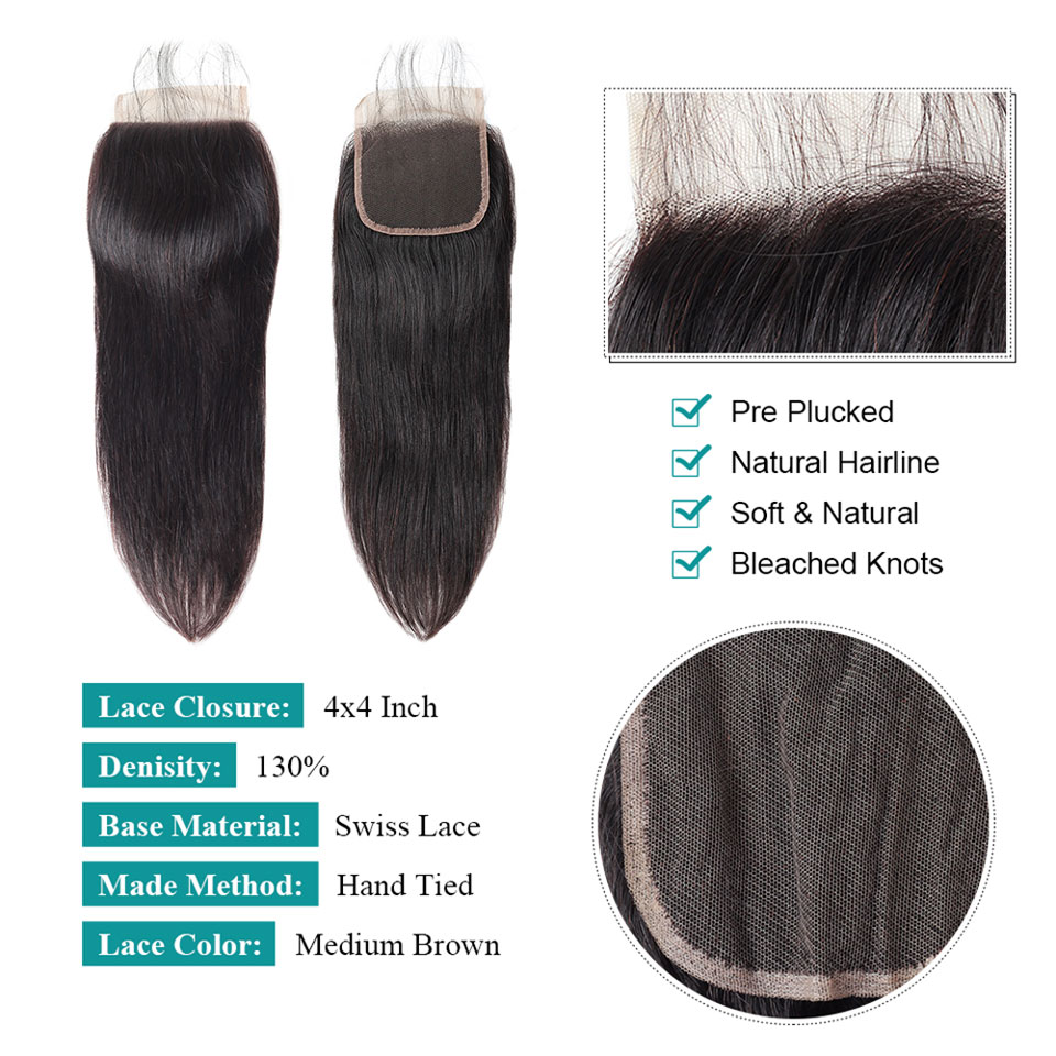 Allove Brazilian Straight Hair Lace Closure Free Middle Three Part 4X4 Lace Closure Non Remy Human Hair Swiss Lace Closure 1Pc