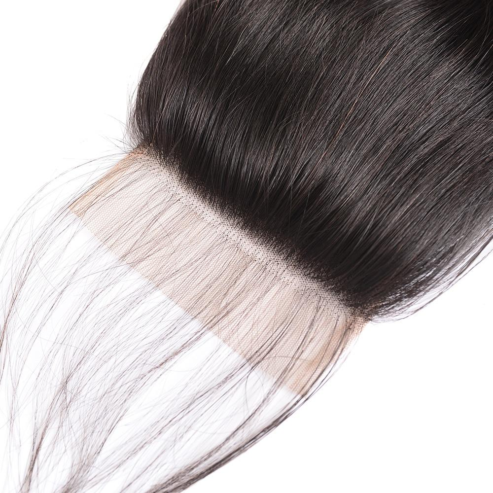 4x4 Lace Closure Straight Middle Free Part 100% Brazilian Human Hair Natural Remy Hair Lace Frontal Closure With Baby Hair
