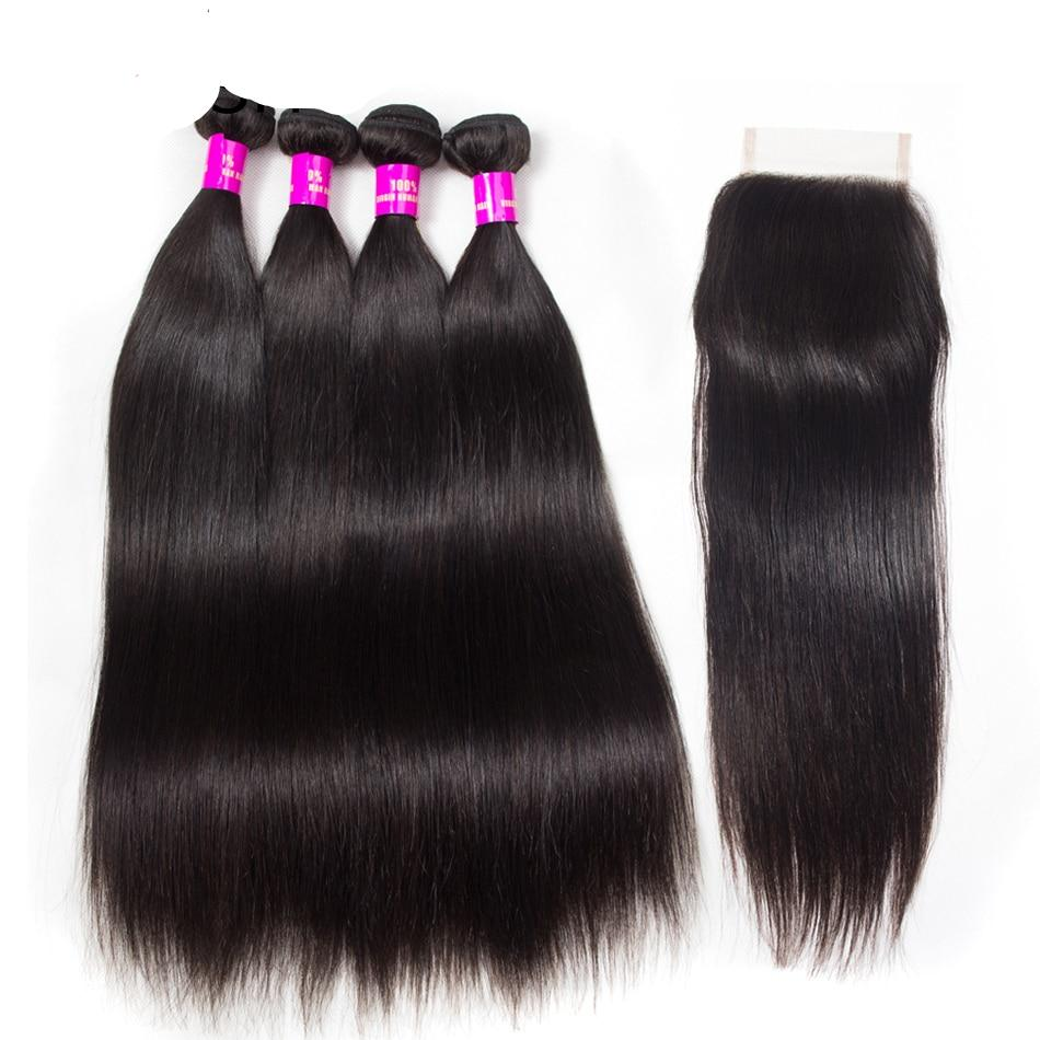 Tinashe Hair Brazilian Hair Weave Bundles Human Hair 4 Bundles With Lace Closure Remy Straight Hair Bundles With Closure
