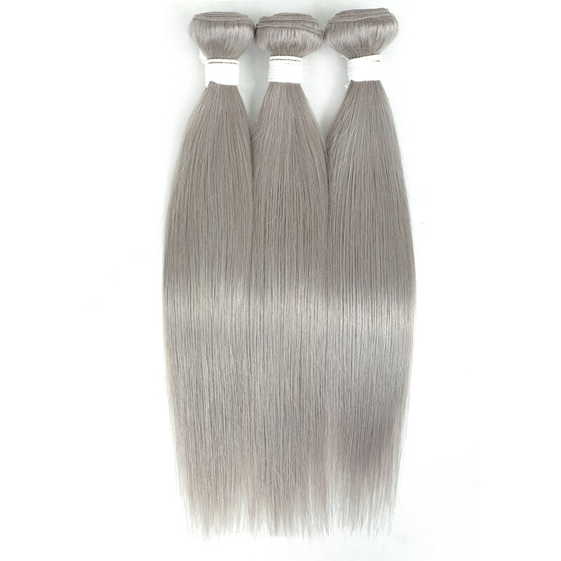 Brazilian Straight Bundle With Closure 4x4 Silver Grey Color 3 Bundles With Closure Gray Non-Remy 100% Human Hair Bundles KEMY