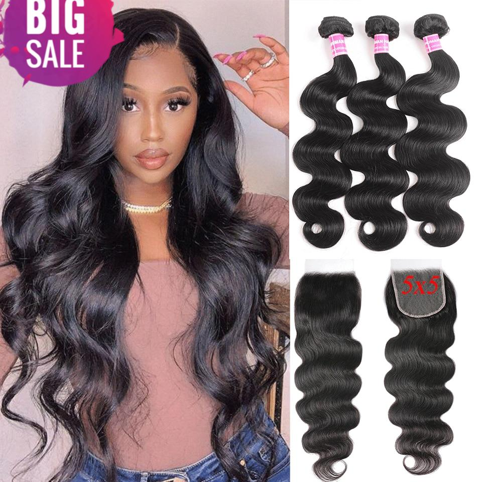 Sunber 5X5 HD Lace Closure With Bundles Pre-plucked 150% density Remy Lace Front Peruvian Body Wave Bundles With Closure Hair