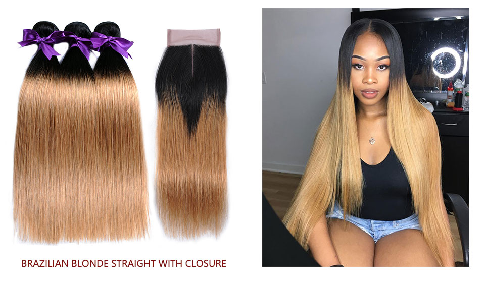 Ombre Peruvian Hair 3 Bundles With Closure 1B Red/Burgundy Straight Human Hair Bundle With Closure Shining Star Remy Hair