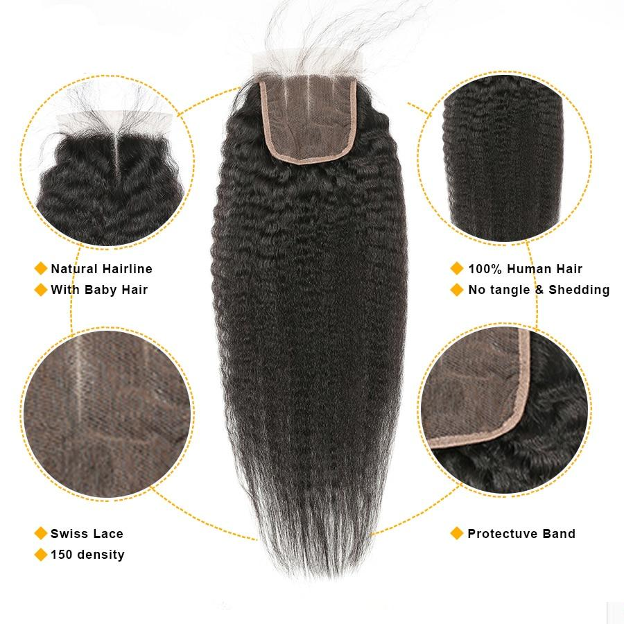 Kinky Straight Peruvian Hair 3 Bundles With Closure Pre Plucked With Baby Hair Human Hair Gossip 4x4 Closure With Bundles Remy