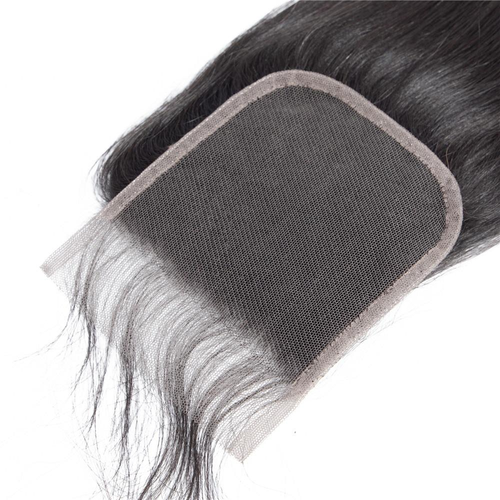 Straight Bundles With Closure Brazilian Human Hair Weave 3 Bundle With 4x4 Lace Closure Dark Black Extension Remy