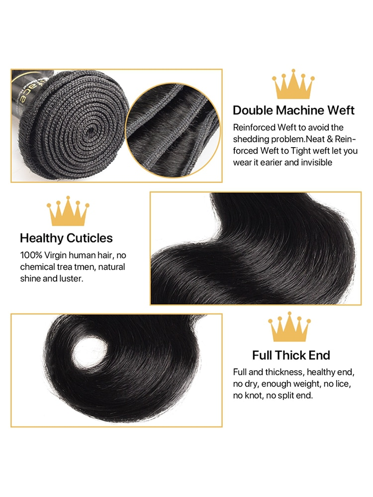 Body Wave bundles human hair Brazilian Natural Black Hair Weave 4 Remy Human hair bundles Deals for Black Women Hair Extensions