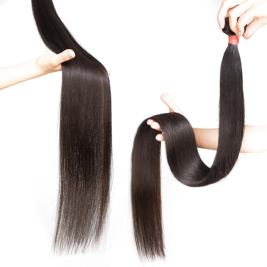 Maxglam Straight 28 30 34 40 Inch Brazilian Bundles Natural 100% Human Hair Weave Extension Virgin Remy 1 3 4 Bundles for Women